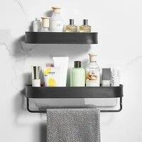 Porte-serviettes de bain mural noir  30-50cm de long  support de rangement  cintre pour accessoires de salle de bains  etageres de cuisine  ensembles de paniers