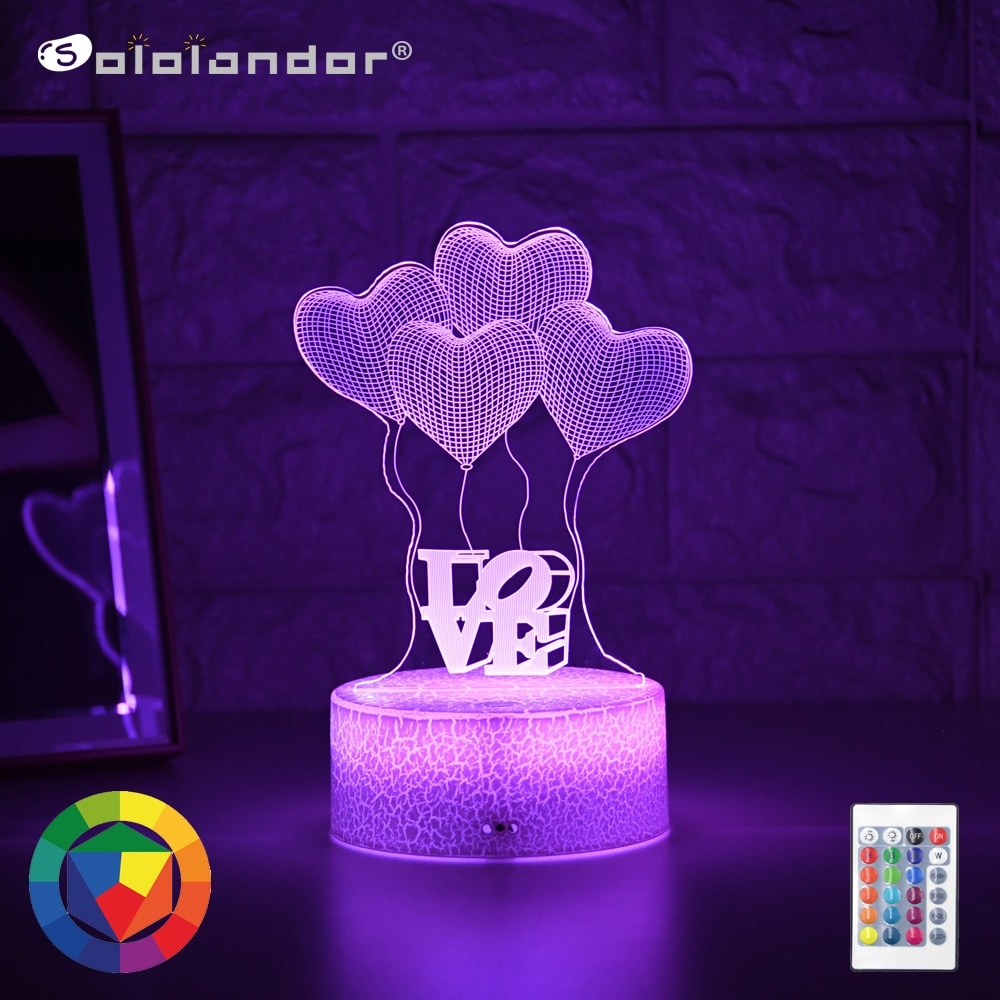 Newest Kid Light Night 3D LED Night Light Creative Table Bedside Lamp Romantic Balloon Love light Kids Gril Home Decoration Gift kids light night 3d led night light creative table bedside lamp unicorn light kids home decoration toys gift 3d led lamp 7 color