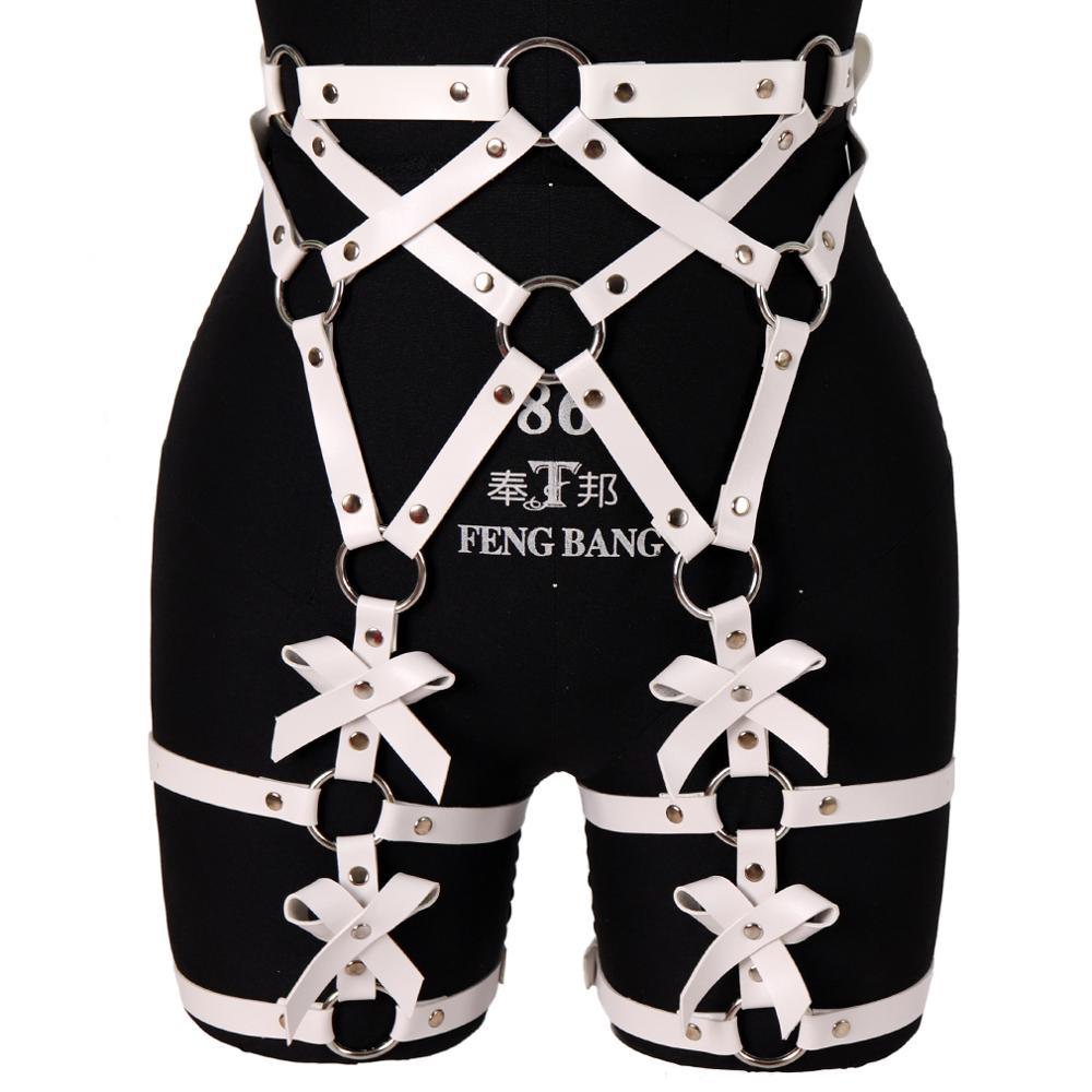 Lazo blanco, liguero, anillo de cuero para pierna, Metal Punk, jaula, liguero, cintura, correa ajustable, medias, lencería de muslo, arnés corporal
