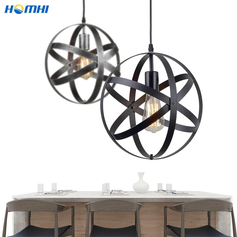 الحديد الصناعية قلادة أضواء الإبداعية المعادن مصباح الكرة خمر الإنارة الصناعية تعليق في قاعة بار جزيرة HPD-053