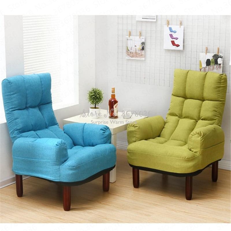 Sofá cama plegable multifuncional, de estilo japonés Tatami, sofá individual, sofá cama de tela, respaldo ajustable de 5 velocidades