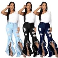 women denim jeans ripped hole tassel patchwork boot cut pants ladies skinny stretch high waist jean