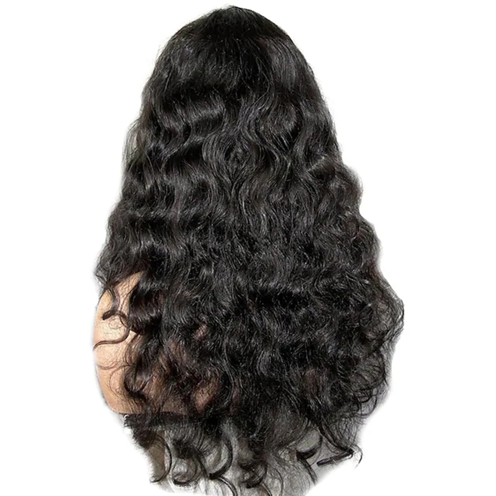 Remy Human Hair Lace Front Wig Long Wavy Brazilian Hair Wavy Body Wave Black Wig for women 22 inch enlarge