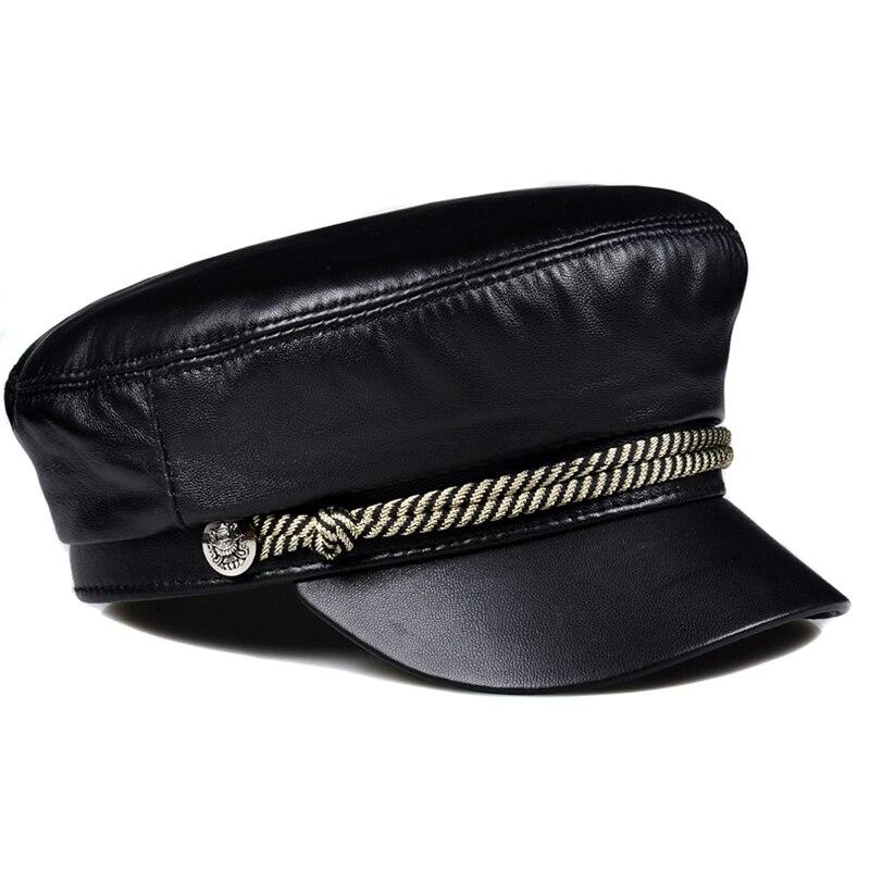 موضة النساء الرجال قبعة عسكرية ربيع الخريف قبعات بحار الأسود السيدات قبعة بيريه صوف قبّعة مسطّحة قبّعة سفر حقيقي جلد الغنم قبعة