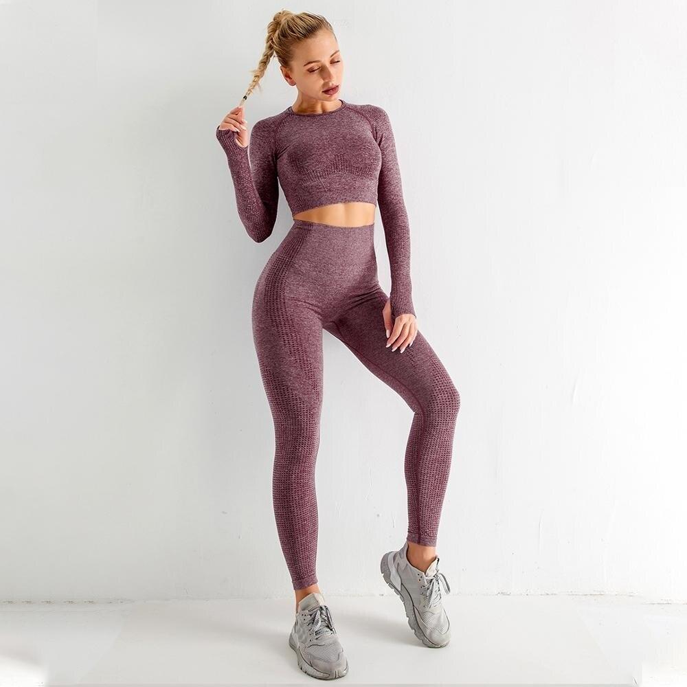 Traje Deportivo De Yoga Sin Costuras Para Mujer De Ropa De Gimnasio De Ejercicio Deporte Yoga Sujetador Deportivo + polainas