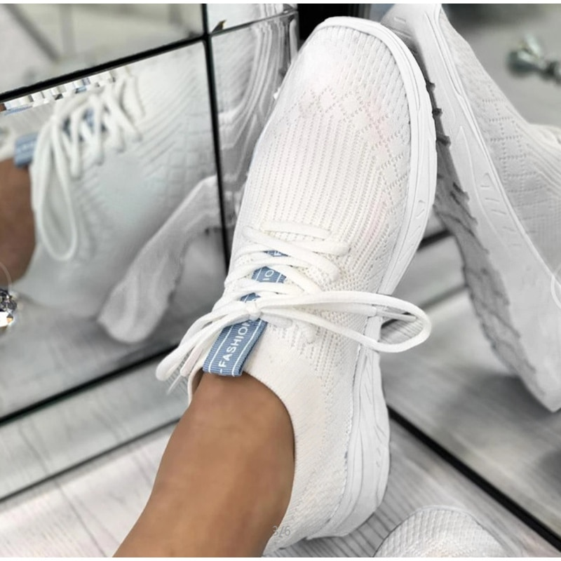 New Women Sneakers Lace Up Crystal Vulcanized Shoes Woman Breathable Casual Mesh Light Ladies Flat Shoes 2021 Female Footwear