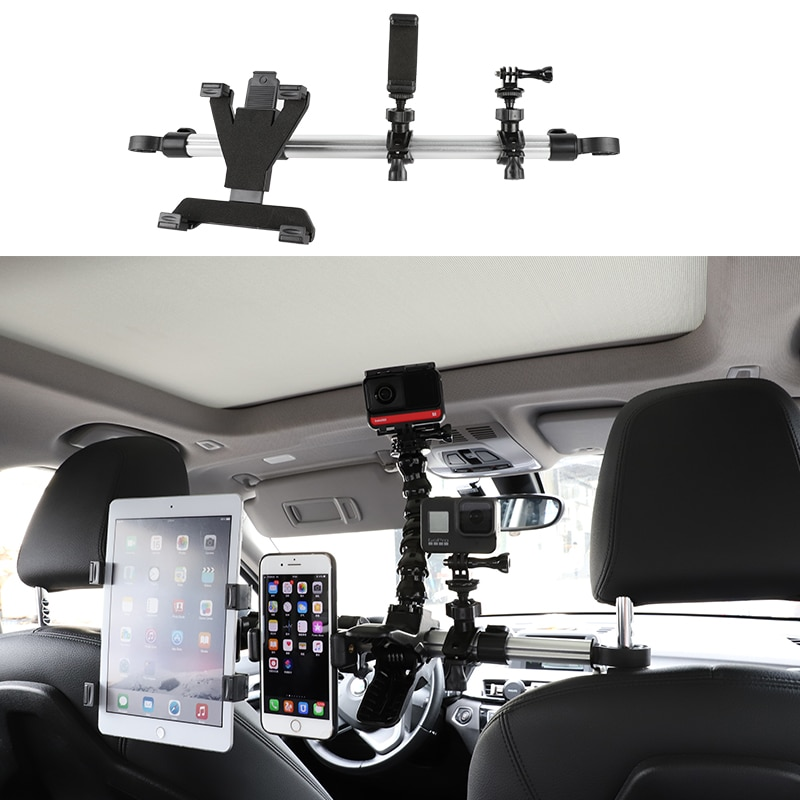 Car Phone/Action Camera/Tablet Holder Universal 3 in 1 Rack Back Seat Headrest Mount Stand For GoPro