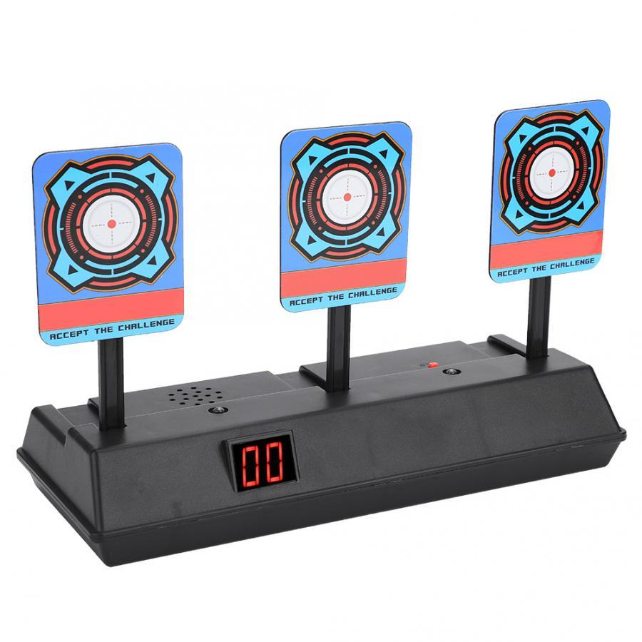 Para pistola de juguete de disparo puntuación eléctrica objetivo niños Luz de sonido juego de disparo de alta puntuación Auto reinicio eléctrico tiros al blanco para pistolas