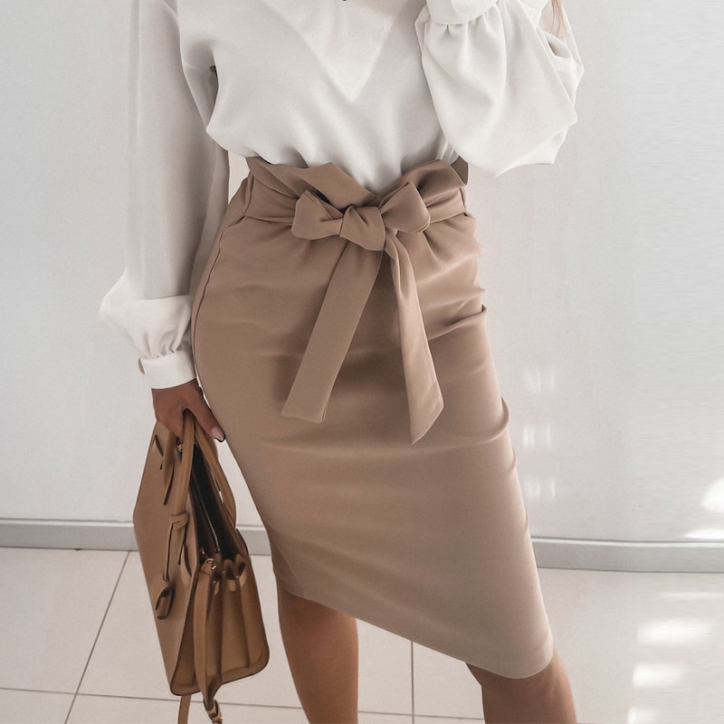 pink lace up design bodycon skirt High Waist Midi Skirt Bodycon Office Lady 2021 Women Casual Bow Lace Up Pencil Skirt  Elegant Back Zipper Formal Females Faldas