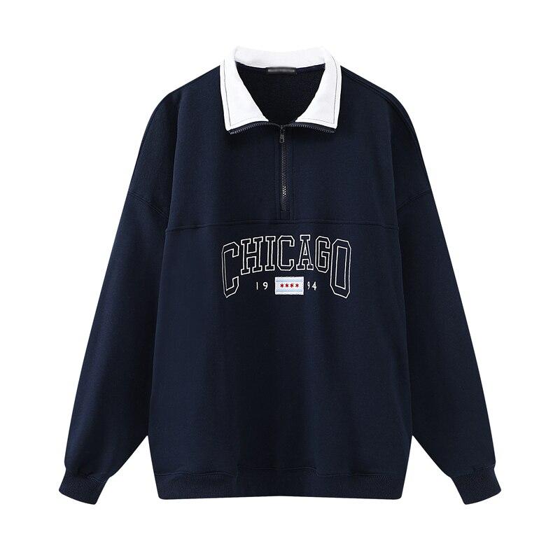 Oversize feminino carta bordado sweatshirts 2020 outono moda senhoras pullovers de algodão macio feminino casual moletom