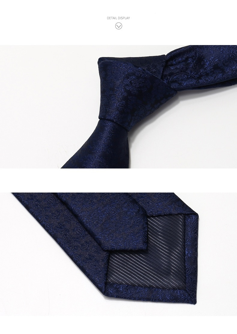 High Quality 2020 Designer New Fashion Paisley Pattern Navy Blue 8cm Ties for Men Necktie Business Formal Suit with Gift Box