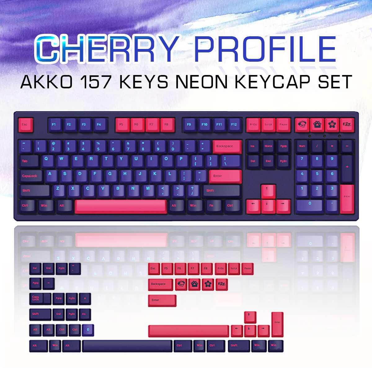 AKKO 157 مفاتيح نيون Keycap مجموعة الكرز الشخصي PBT لونين صب المفاتيح للوحة المفاتيح الميكانيكية تغيير مفتاح الفوز لمفتاح التطبيق