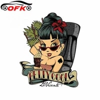 for tiki betty cool car stickers personality bumper surfboard decal gtr evo sx camper decoration sunscreen waterproof