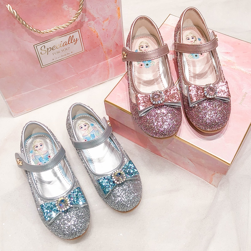 Girls' Shoes 2020 New Fall Aisha Little Princess Leather Ice and Snow Crystal Children's Shoes Soft Bottom Blue Single Shoes enlarge