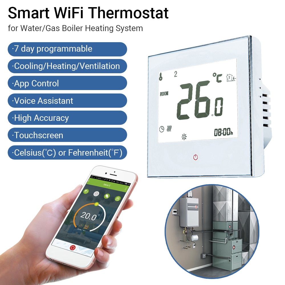New 95~240V WiFi Smart Thermostat Temperature Controller for Water Electric Floor Heating Gas Boiler Work With Alexa Google Home
