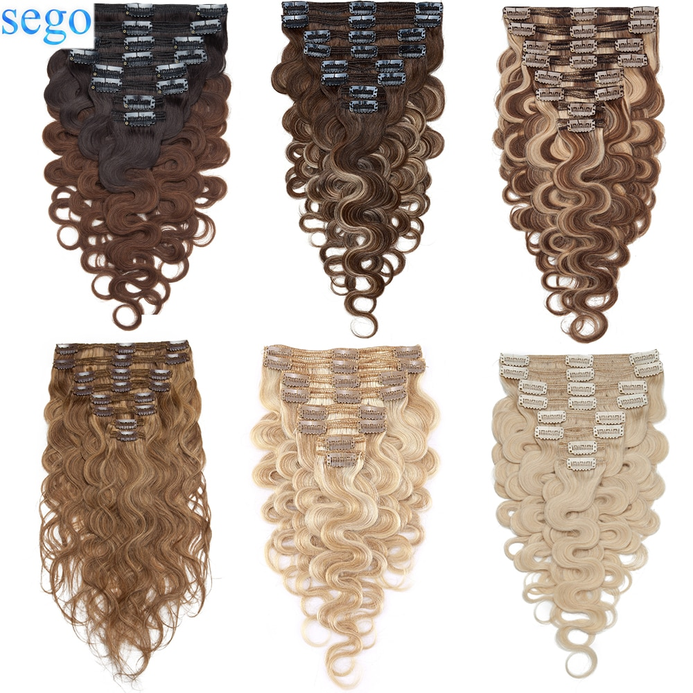 SEGO 18inch 140g Body Wave Human Hair Clip In Hair Extensions 8pc/set HairPieces for Women Double Weft Machine Remy Clip Ins