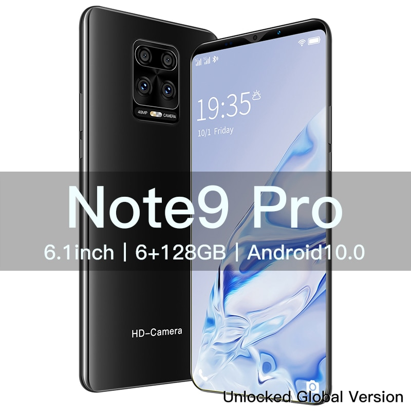 New Mobile Phone Note 9 Pro 6.1 inch 4800 Battery 8+13MP Camera Global Version Smartphones 6G 128GB