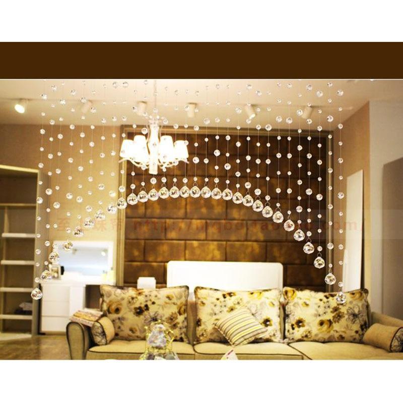 Cuentas de cristal cortina para ventana o puerta cortina paso boda telón de fondo suministros para fiestas hogar sala de estar dormitorio cadena Decoración