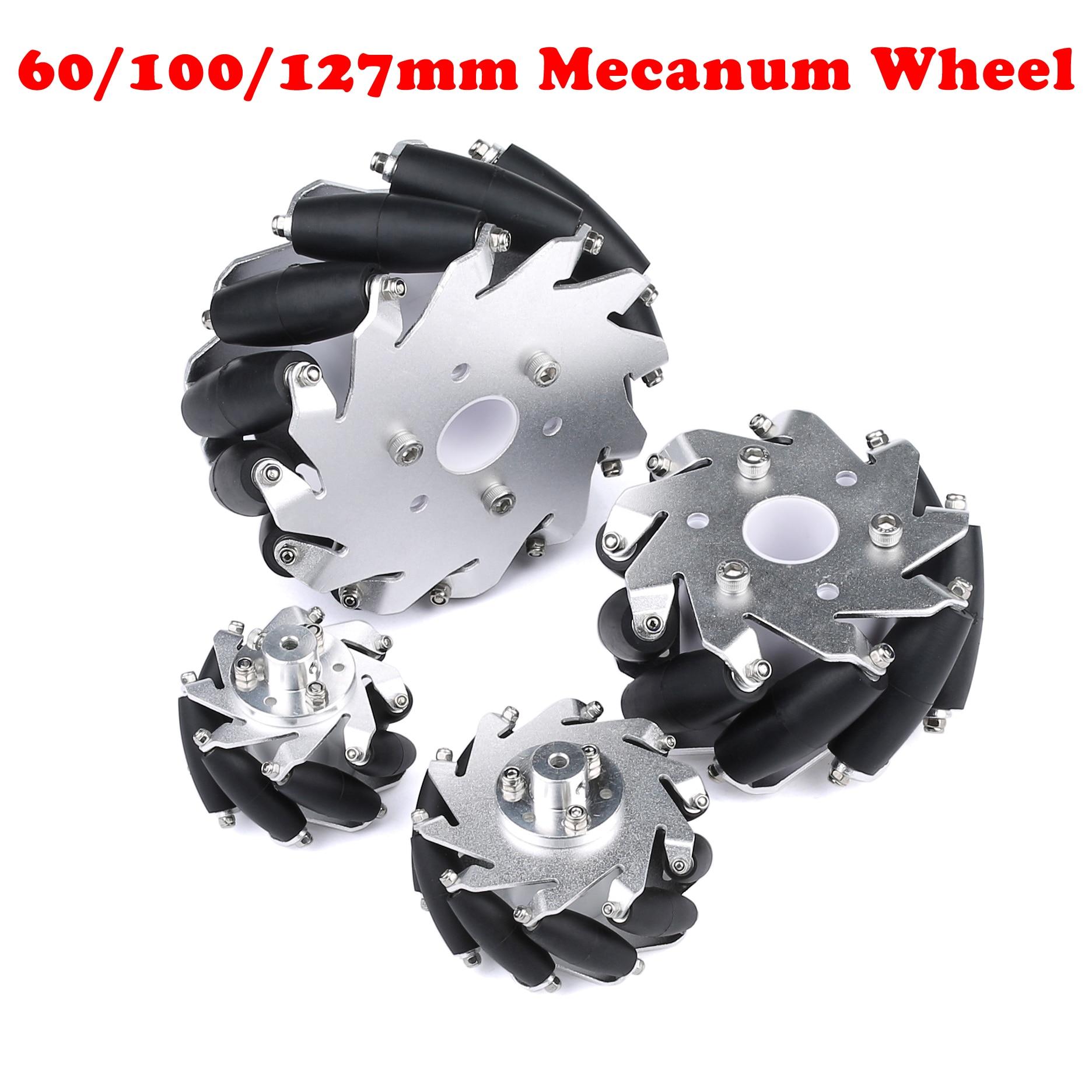 4 قطعة/المجموعة 60 مللي متر 100 مللي متر 127 مللي متر معدن من خليط الألومنيوم Mecanum عجلة متعددة الاتجاهات عجلة لاردوينو التوت بي DIY الروبوتية سيارة