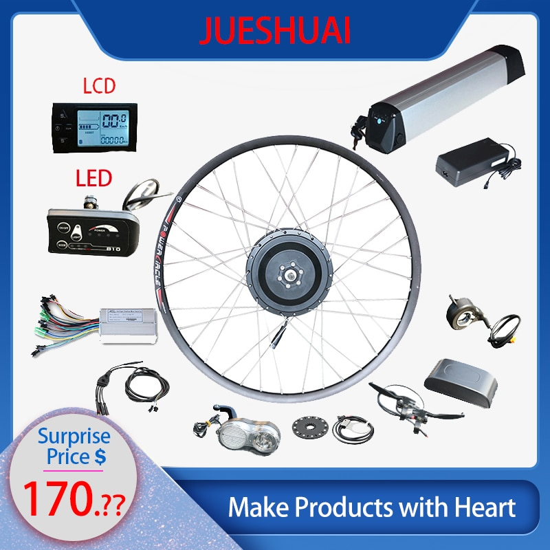 JS36V 250W 350W 500W Kit de conversión de Bicicleta eléctrica de rueda delantera KitHub LED de motor/LCD Ebike con Kit de batería de Bicicleta eléctrica