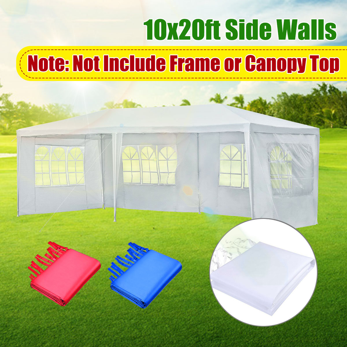 Oxford Cloth Party Tent Wall Sides Waterproof Garden Patio Outdoor Canopy 3x6m Sun Wall Sunshade Shelter Tarp Sidewall Sunshade