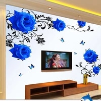 big blue rose wall stickers home decor removable self adhesive flower wall decals for living room