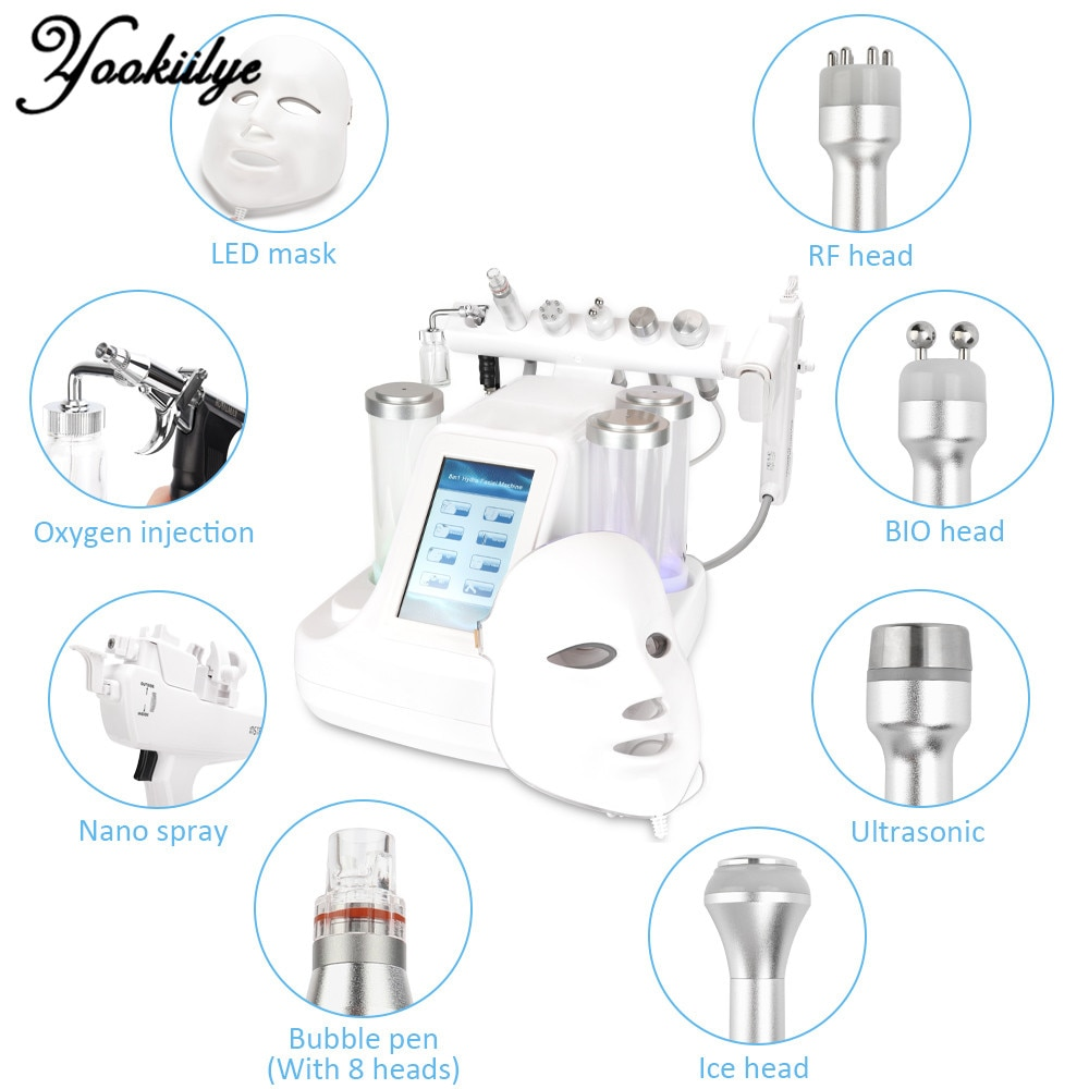 8 In 1 Small Bubble Dermabrasion Vacuum Face Cleaning Hydra Oxygen & Water Jet Peel Massage BIO Light RF Vacuum Beauty Device