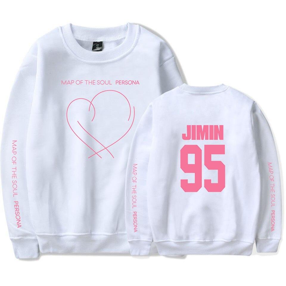 JIMIN JUNG KOOK SUGA New album Map Of The Soul Persona Print Round Neck Sweatshirt Women/men Fashion Thin/Fleece Clothes