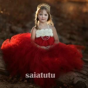 Girls red Flowers Wedding Tutu Dress princess party Children 20121 Handmade Tulle Costume Kids Formal Ball Gown Birthday Cloth