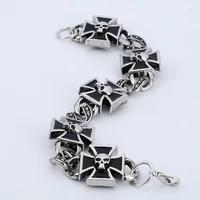new trendy chain bracelet mens metal buckle cross tension mount skull fashion bracelet accessories party jewelry