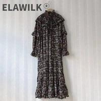 autumn new designer womens vintage ruffles dress high quality long sleeves loose dress c931