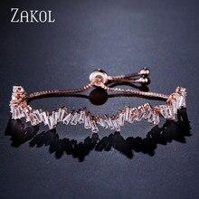 ZAKOL moda parlak AAA kübik zirkon baget ayarlanabilir zincir bilezik ve bileklik kadın kız düğün takısı FSBP161
