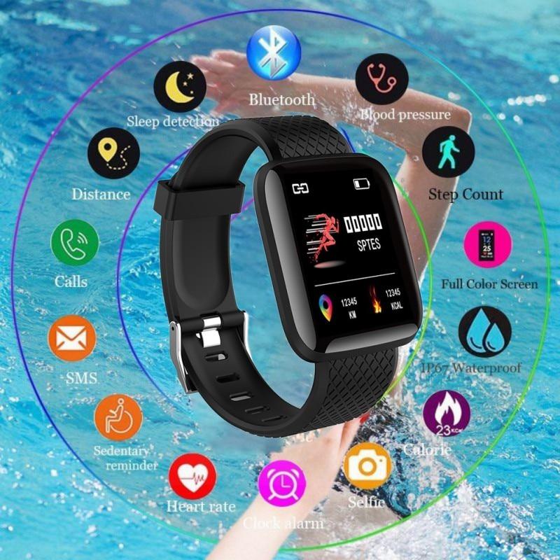 Pulsera inteligente con Bluetooth, rastreador de Fitness a prueba de agua, reloj inteligente de ritmo cardíaco para 116 PLUS, reloj de pulsera inteligente