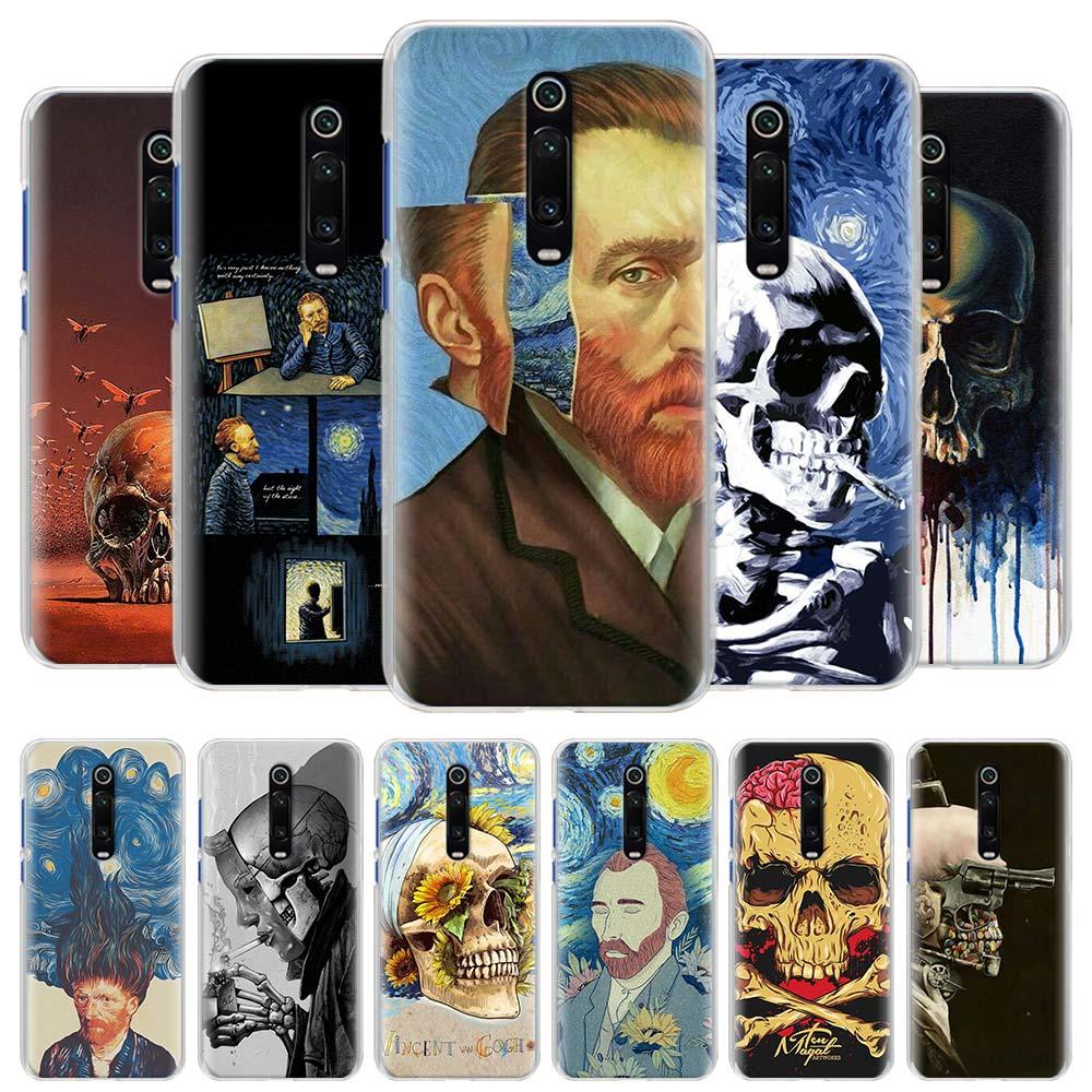 Vincent van gogh cráneo funda de teléfono para Xiaomi Mi nota 10 Pro 9 9T 10 Lite 10 jóvenes A1 A2 A3 8 Lite Poco X2 F2 Pro cubierta