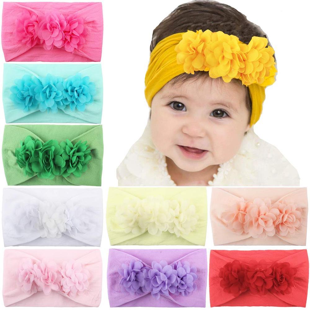 10PCS Baby Girls Headbands 4.5Inch Chiffon Flower Bow Hairbands Elastic Nylon Hair Bands Hair Accessories for Newborns Infants