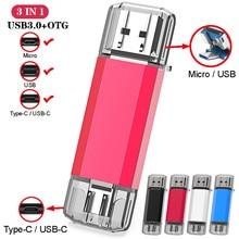 Clé USB 3 en 1 UBS 3.0 OTG 64 go Type C et Micro clé USB 3.0 clé USB 16 go 32 go 128 go clé USB 256 go 512 go go clé USB