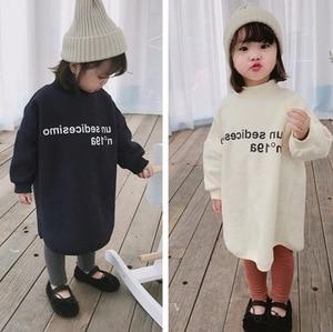 WLG girls winter dresses kids letter printed white dark blue velvet thick dress baby girl casual all match clothes