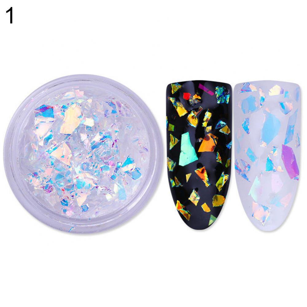 70% Hot Sale Fluorescent Glass Paper Nail Flakies Irregular Nail Art Glitter Flakes Colorful Nail Sequins
