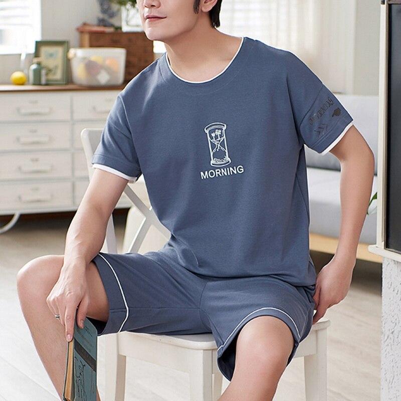 Newest Men's Pajamas Set Plus Size L-3XL Summer Striped Sleepwear Men's Short Sleeve Nightwear Short