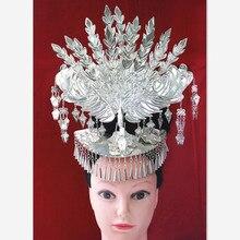 Femme miao vêtements argent tête décoration épingle à cheveux miao chapeau minorité paon danse accessoires minorité cosplay coiffe de tête