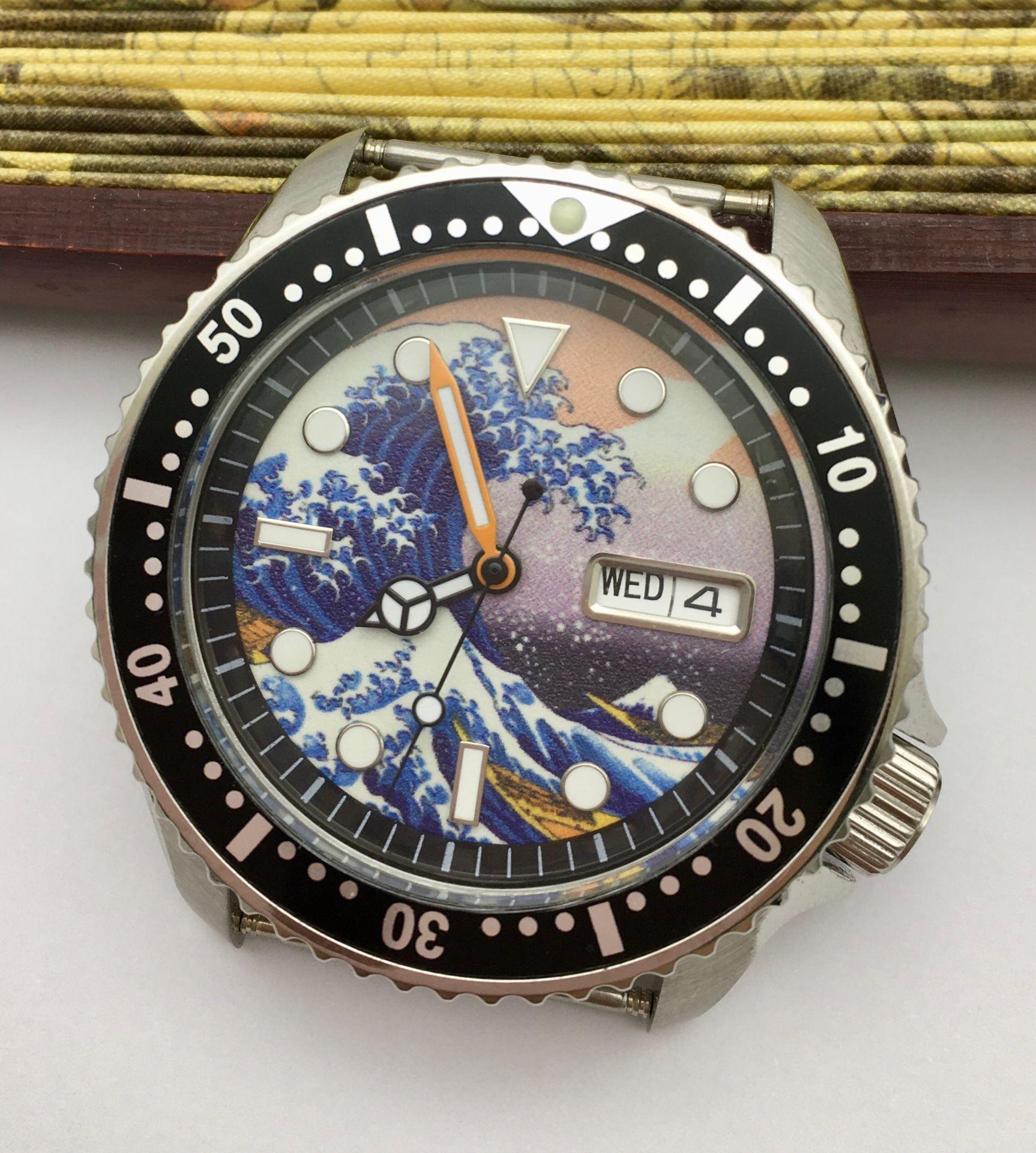 42mm SK007 Luminous Dial Date Day Automatic Watch NH36 Movement Men's Mechanical Clock Mesh Strap