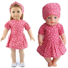 Red Print Dress + Square Scarf Set Fit 43cm Baby New Born,42cm Nenuco,18inch Girl Doll Clothes Acces