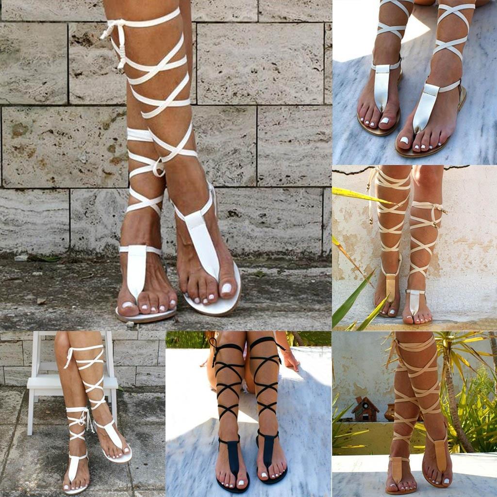 Women Sandals Summer Open-Toe Strap Roman Wind Straps Toe Flat Sandals Shoes Large Size Casual Soft Female Beach Sandals D9#