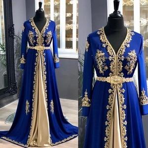 Elegant Royal Blue Muslim Evening Dresses 2020 Crystal Dubai Formal Gown A-Line V-Neck Dubai Women Evening Party Dress abendklei