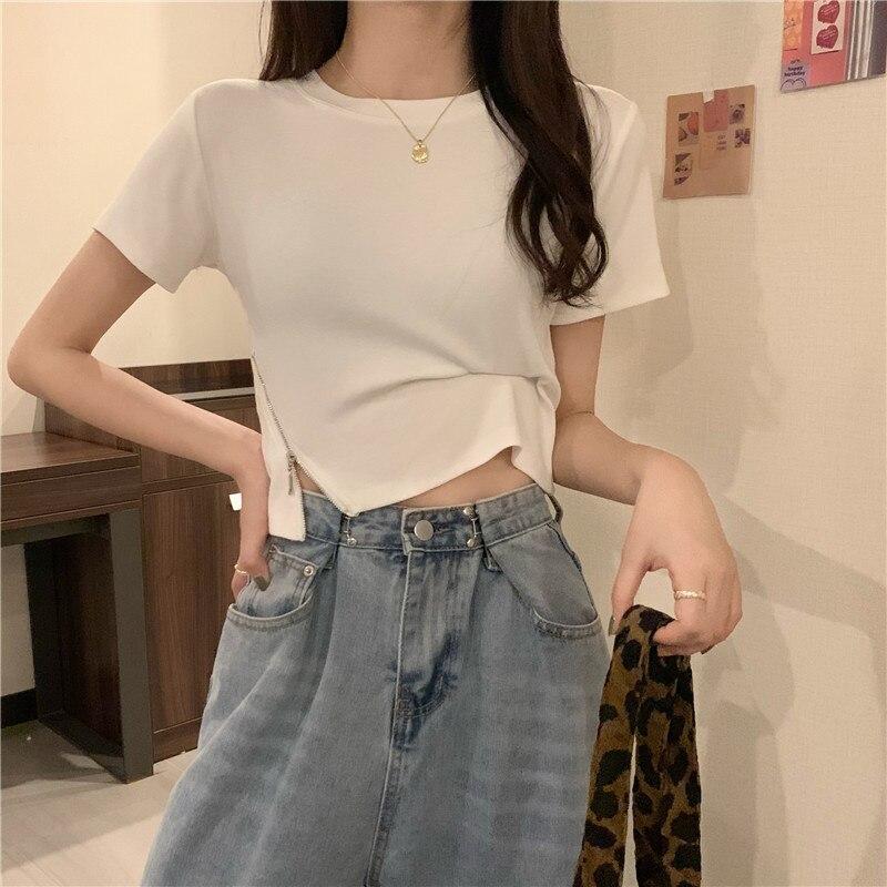 New Solid Color Round Collar Design Split Zipper Short Outer Wear T-shirt Top Women Tshirt Korean Cl