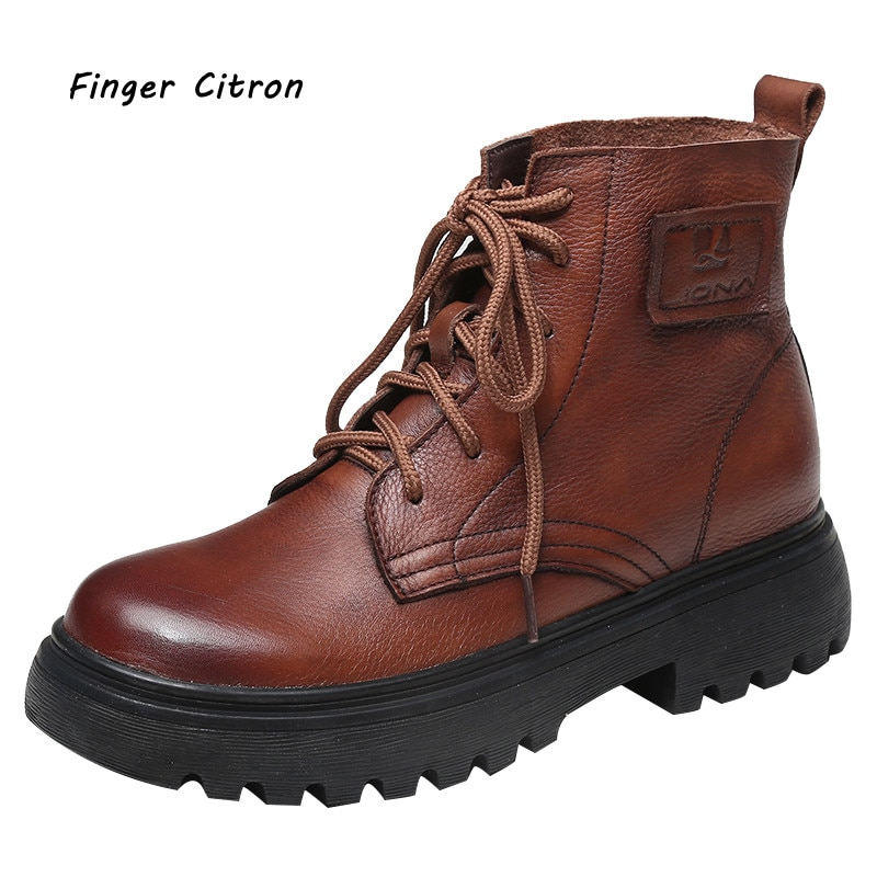 Finger Citron Genuine Cow Leather Women Anckle Boots Round Toe Anti-skid Outsole Comfortable And Sof