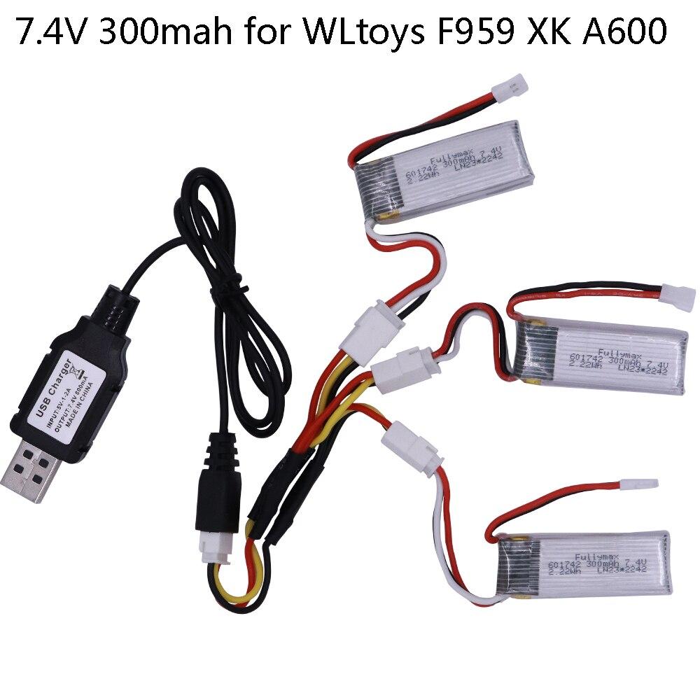 3 uds 7,4 V 300mAh LiPo batería con cargador USB para RC WLtoys F959 componentes para drones RC de batería de 7,4 V para el XK DHC-2 A600 A700 A800 A430