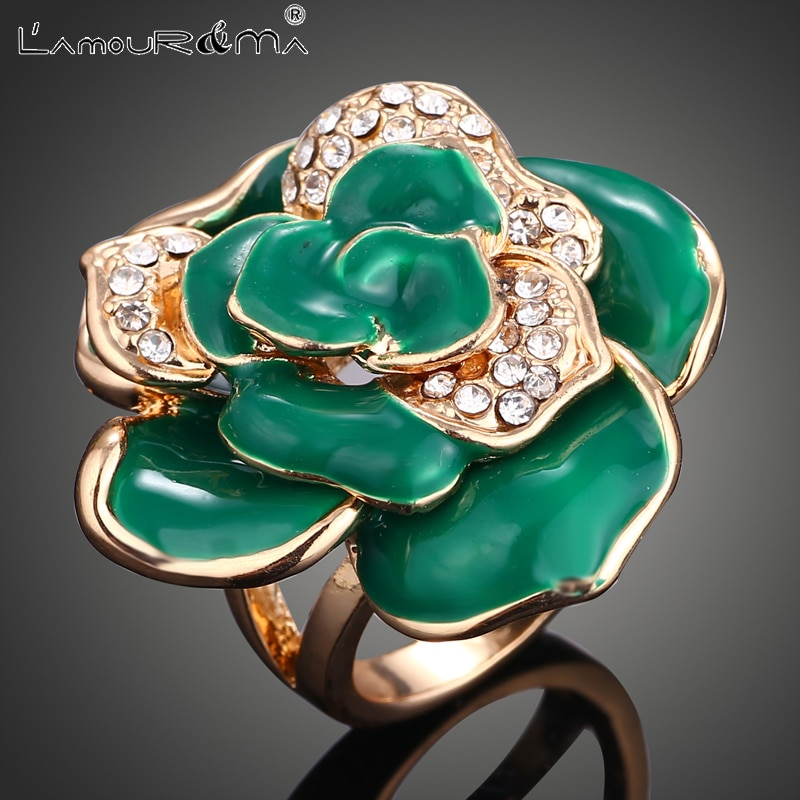 L'Amour&Ma Rings For Women Men Luxury Fashion Vintage Flowers 2-Colors Plant Alloy Crystal Ring Jewelry Accessories Gifts