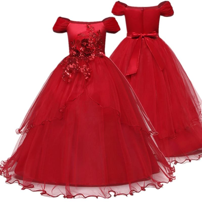 Vestidos da menina de flor vestido vermelho natal rendas longo casamento pageant primeiro comunhão vestido para meninas grandes crianças formal vestir 12 t