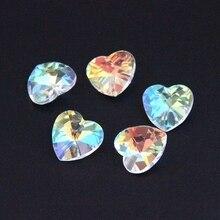 14mm AB 100 pièces-2000 pièces cristal forme de coeur 1 trou verre bricolage perles en vrac lustre prisme Suncatchers